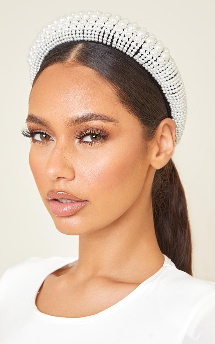 White Assorted Pearl Chunky Headband 1
