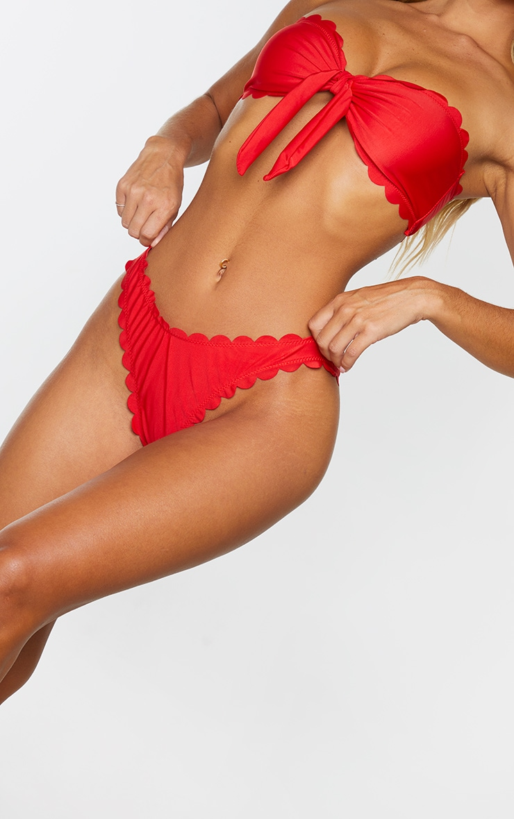 Red Scallop Cheeky Bikini Bottom 5