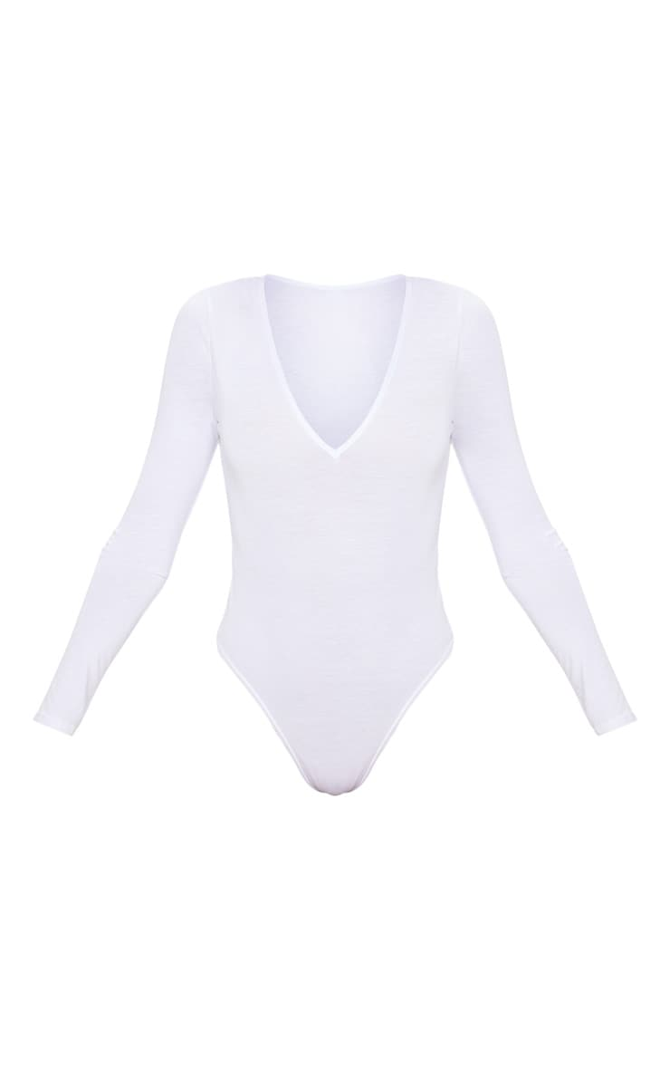 Basic White V Neck Long Sleeve Bodysuit 3