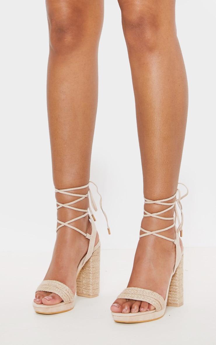 Nude Espadrille Platform Leg Tie Sandal 2