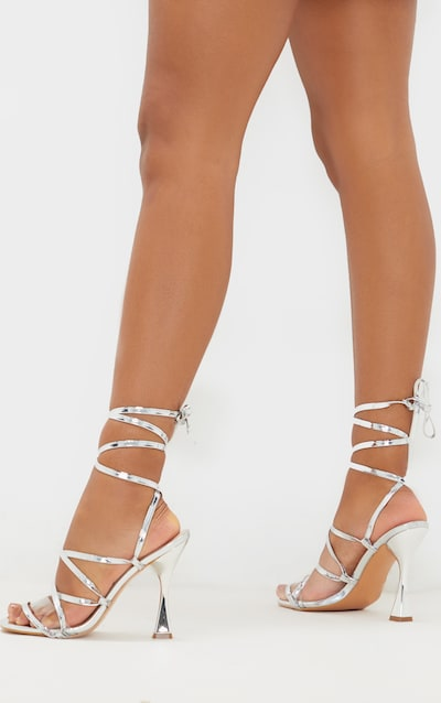 Silver Flared Heel Ghillie Lace Up Sandal