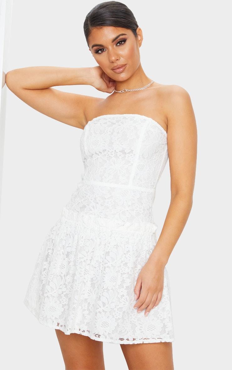 White Lace Bandeau Frill Hem Skater Dress 1