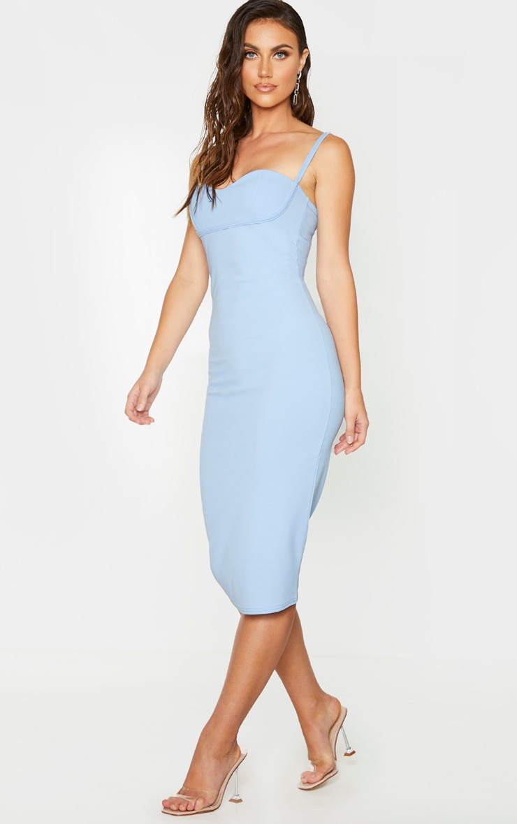 Baby Blue Strappy Cup Detail Midi Dress 3