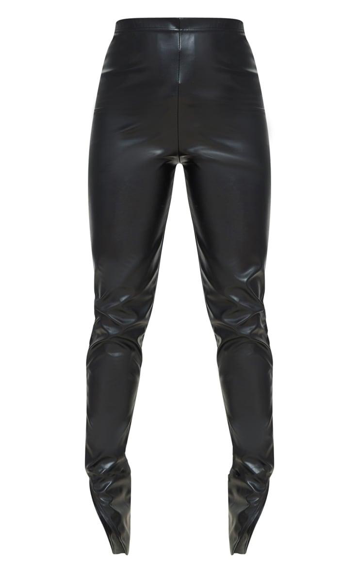 Petite Black Faux Leather Split Hem Leggings 5