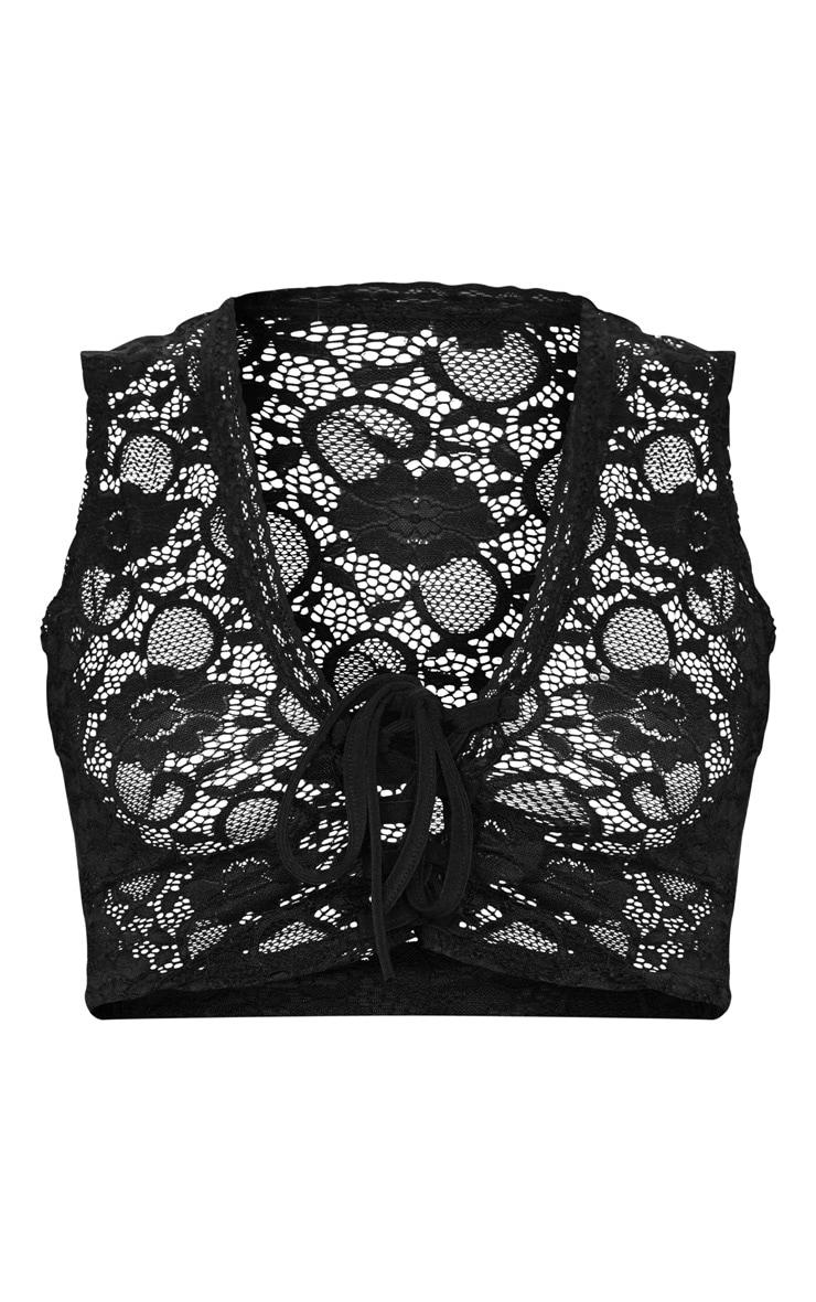 Black Crochet Lace Fringe Tie Front Crop Top 5