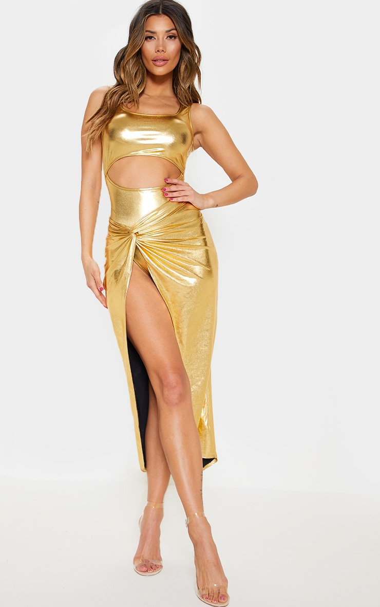 Gold Metallic Slinky Knot Front Midi Skirt 1