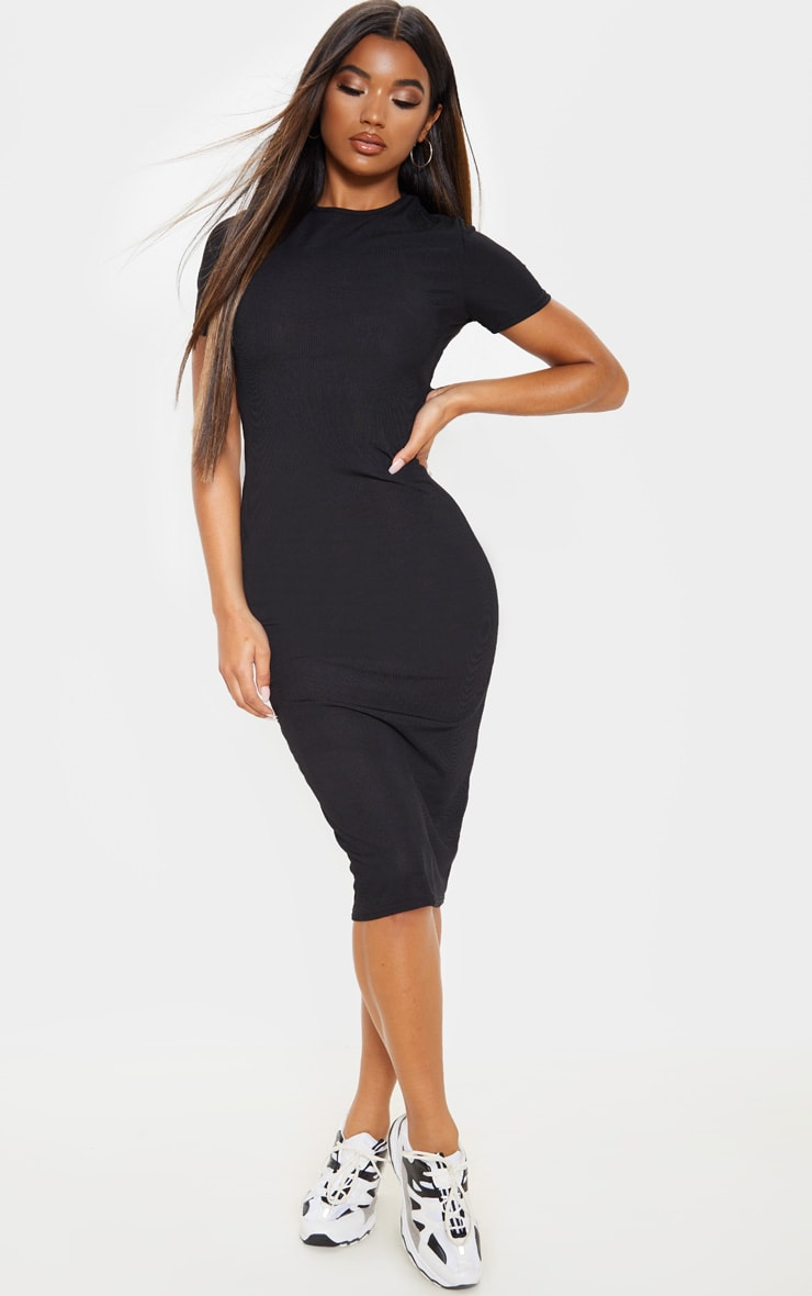 Black Ribbed Crew Neck Midi Dress 1