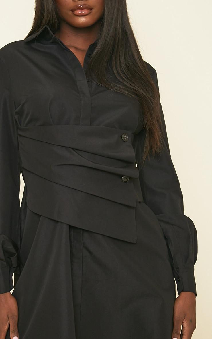 Tall Black Corset Detail Shirt Dress 4