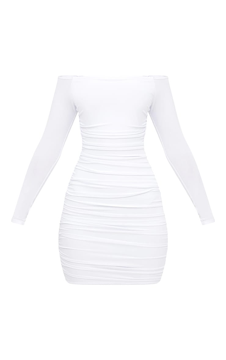 White Bardot Ruched Bodycon Dress 3