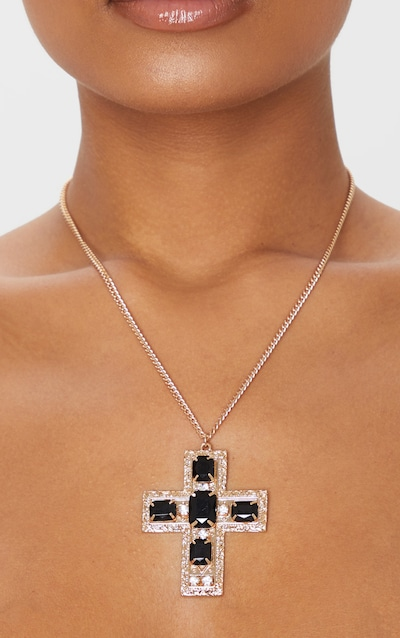 Gold Long Chain Black Crystal Statement Cross Necklace
