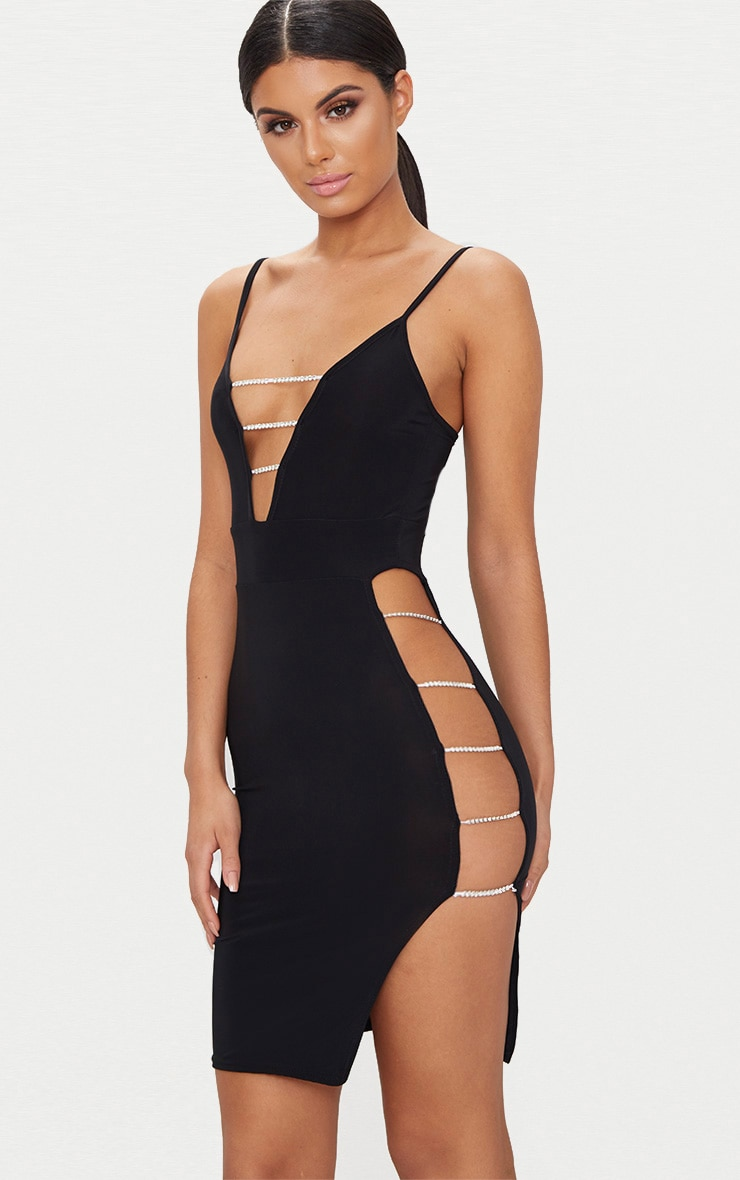 2ba319de85c4 Black Slinky Extreme Split Diamante Chain Detail Bodycon Dress image 1