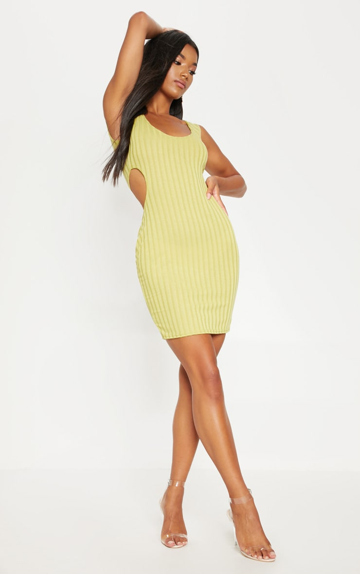 Lime Ribbed Cut Out Bodycon Dress 4