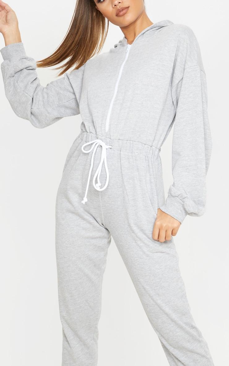 Grey Long Sleeve Hooded Sweat Jumpsuit 5