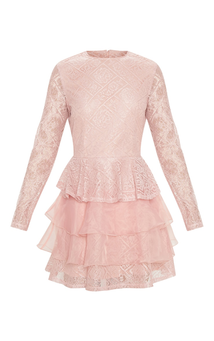 Dusty Pink Lace Long Sleeve Tiered Skater Dress 3