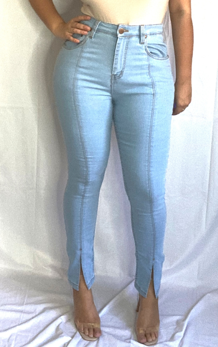 Plus Light Blue Wash Front Split Hem Skinny Jeans 4