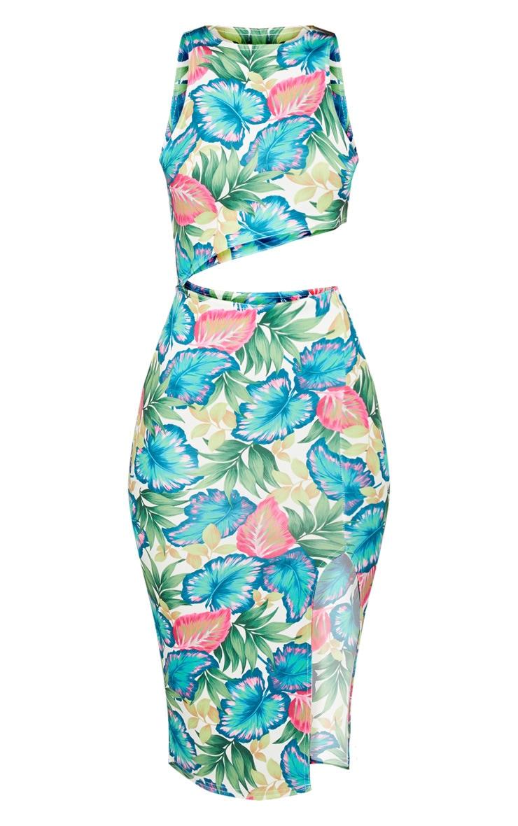 Green Tropical Print Cut Out Midi Dress 3