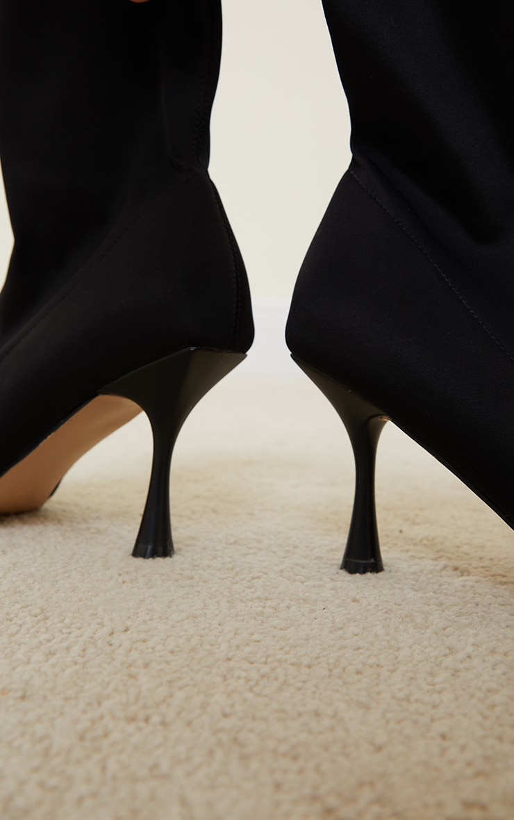 Black Lycra Square Toe Mid Heel Sock Boots 4
