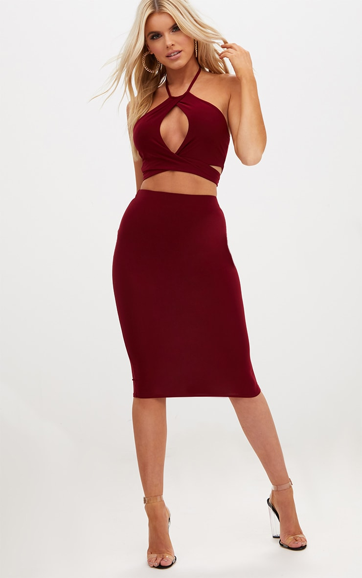 Petite Wine Wrap Keyhole Crop Top 4
