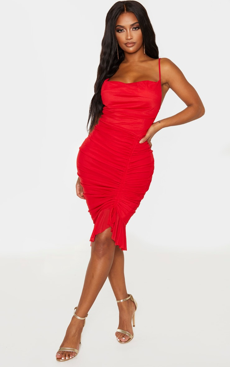 Shape Red Mesh Cowl Ruched Midi Dress 1
