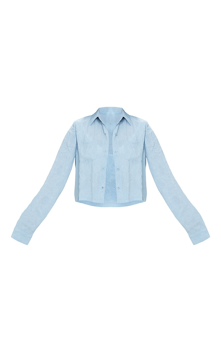 Petite Baby Blue Lightweight Crinkle Cropped Shirt 5