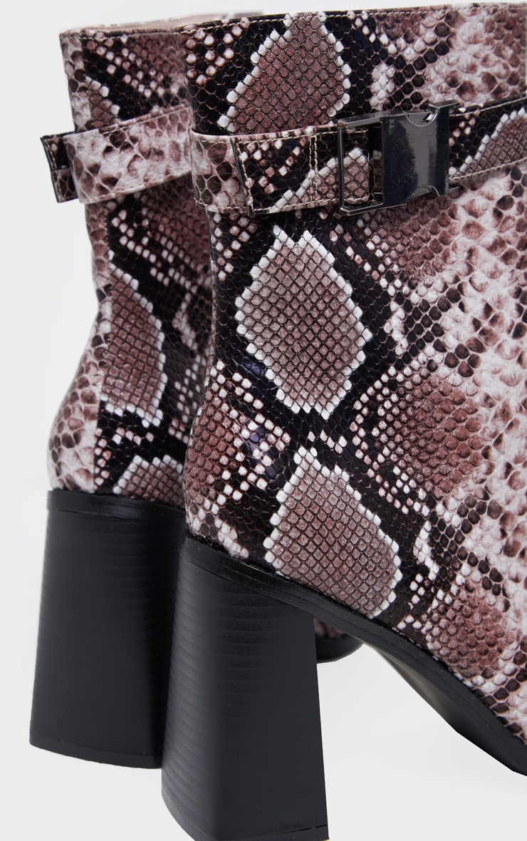 Brown Snake Square Toe Buckle Detail Ankle Boot 4