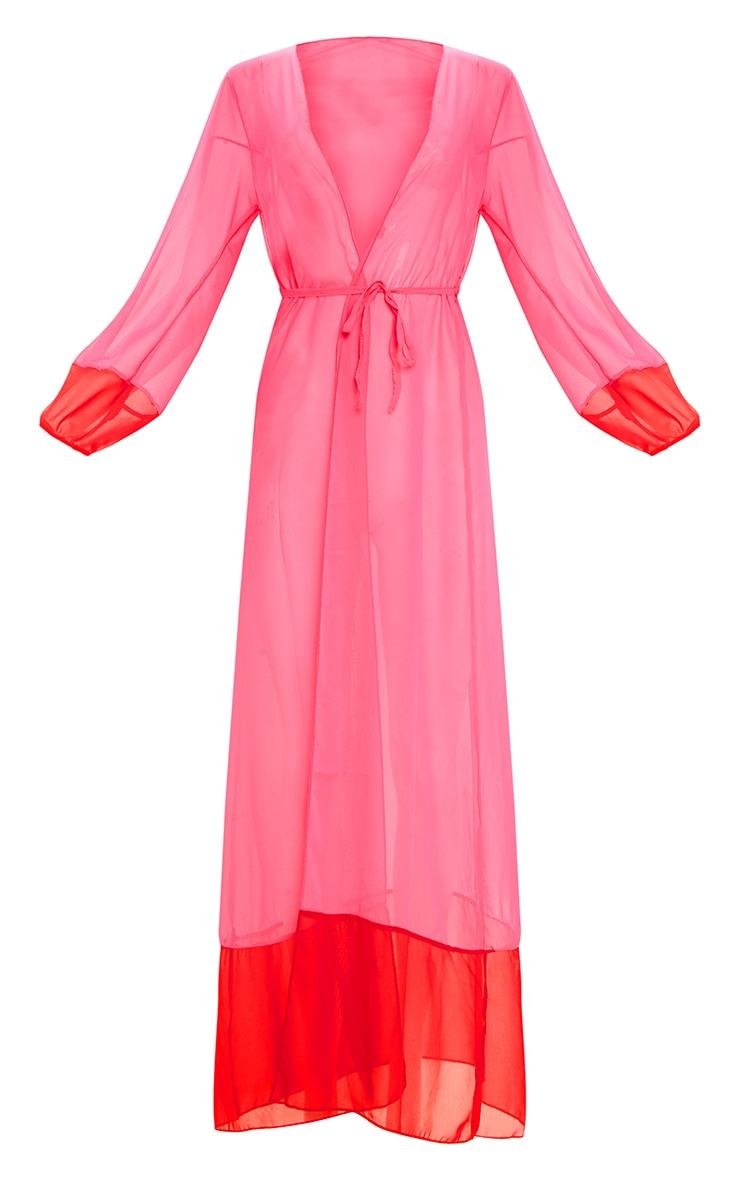 Pink Contrast Hem Maxi Beach Kimono 3