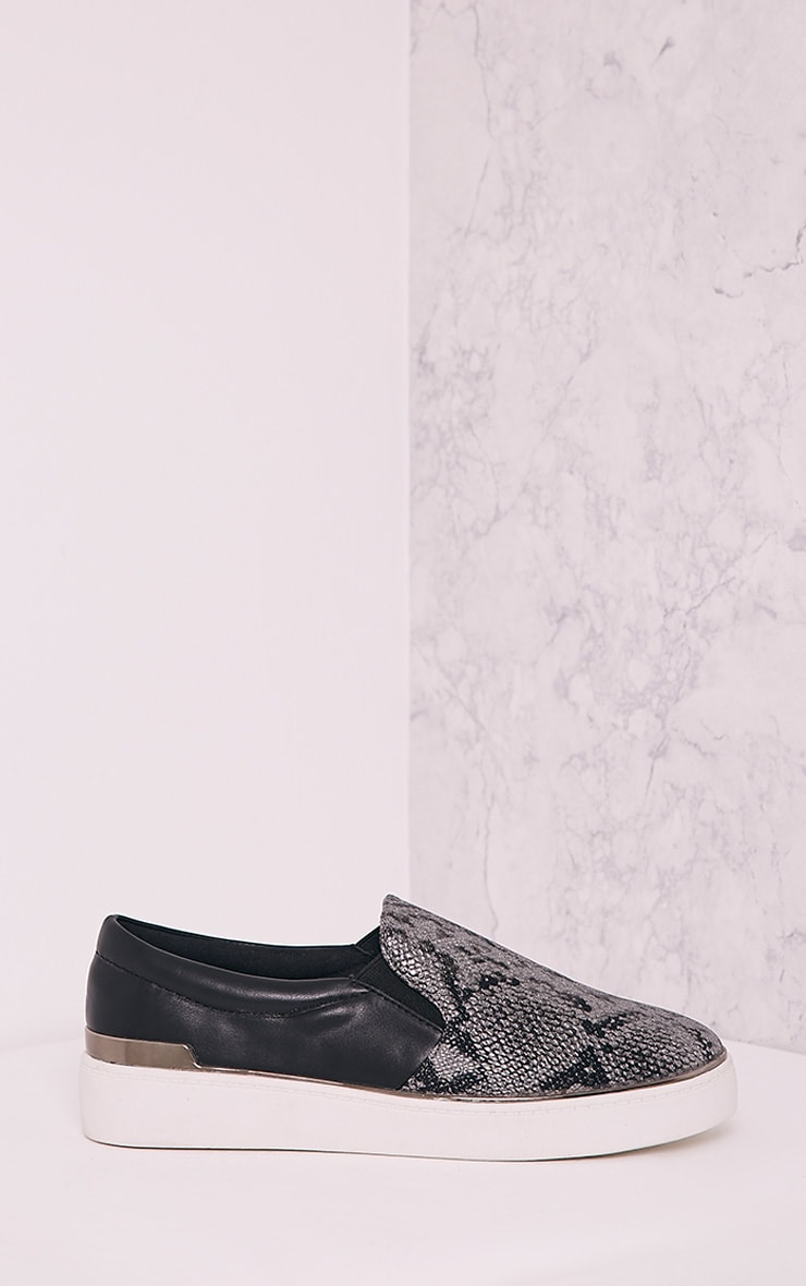 Ania Grey Faux Snake Skin Slip On Trainers 3