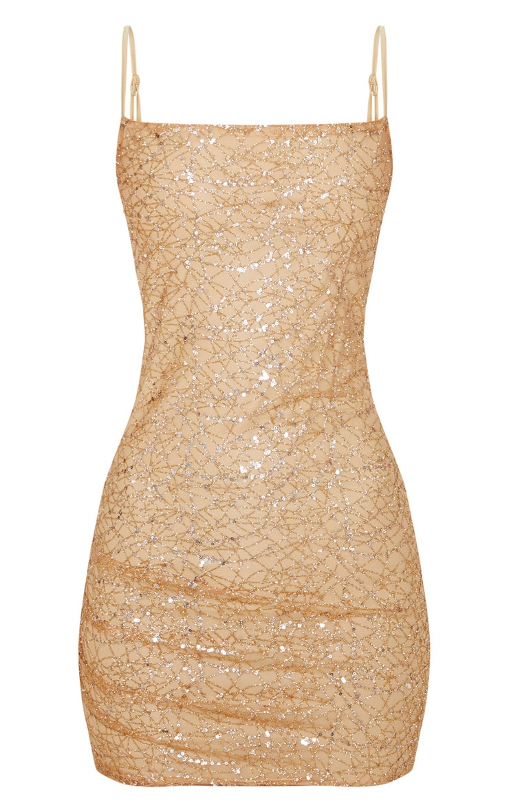 Rose Gold Strappy Sequin Glitter Detail Bodycon Dress 3