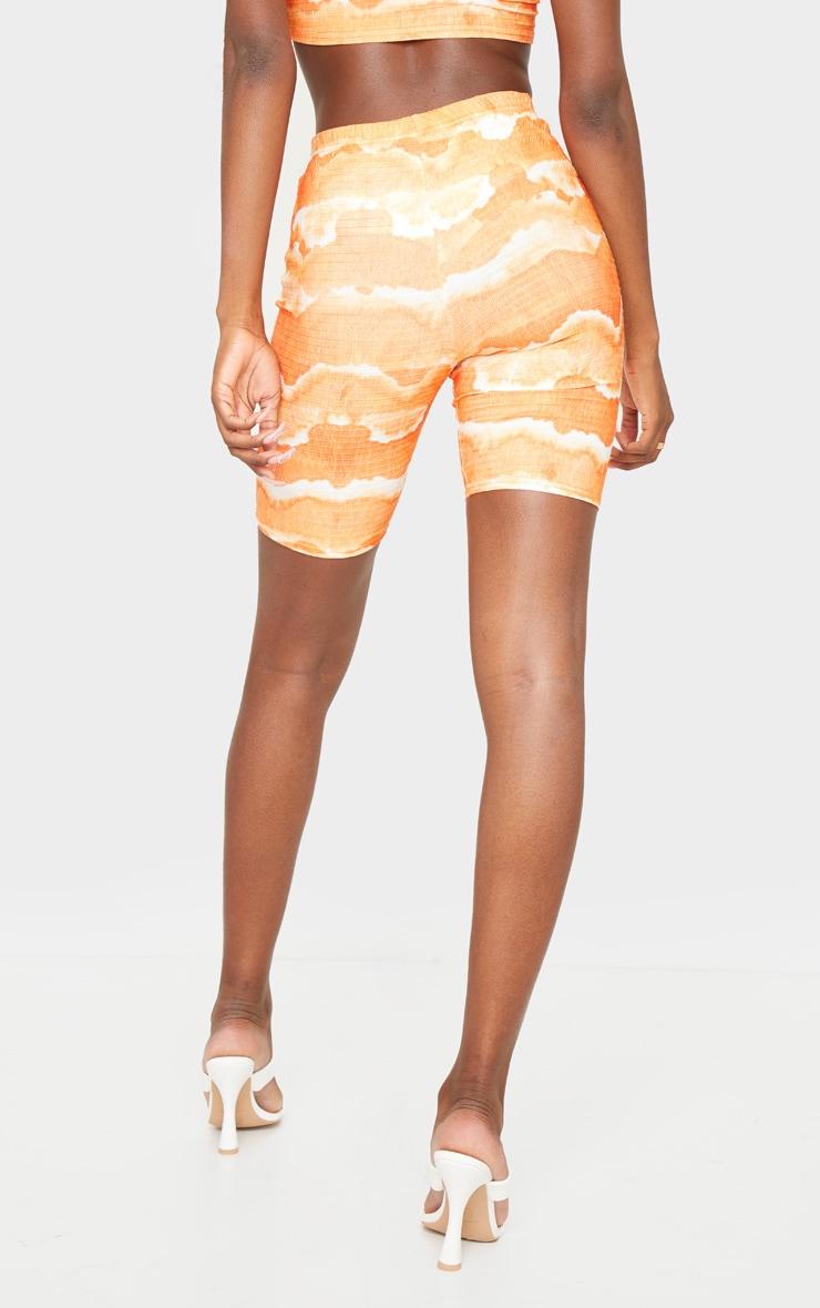 Tall Orange Tie Dye Cycle Crinkle Shorts 3