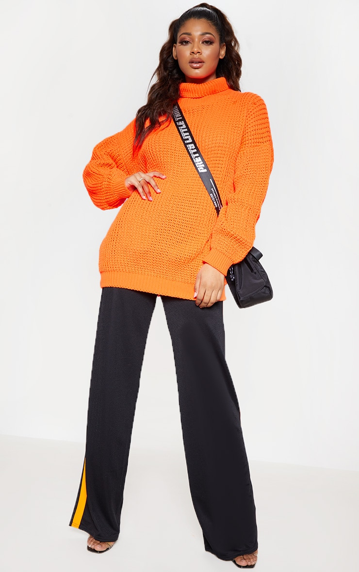 Tall Neon Orange Roll Neck Oversized Chunky Knit Jumper 4