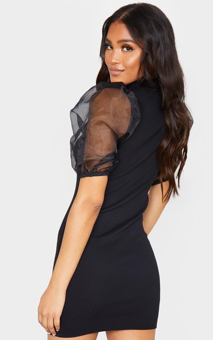 Black Organza Puff Sleeve Knitted Dress 2