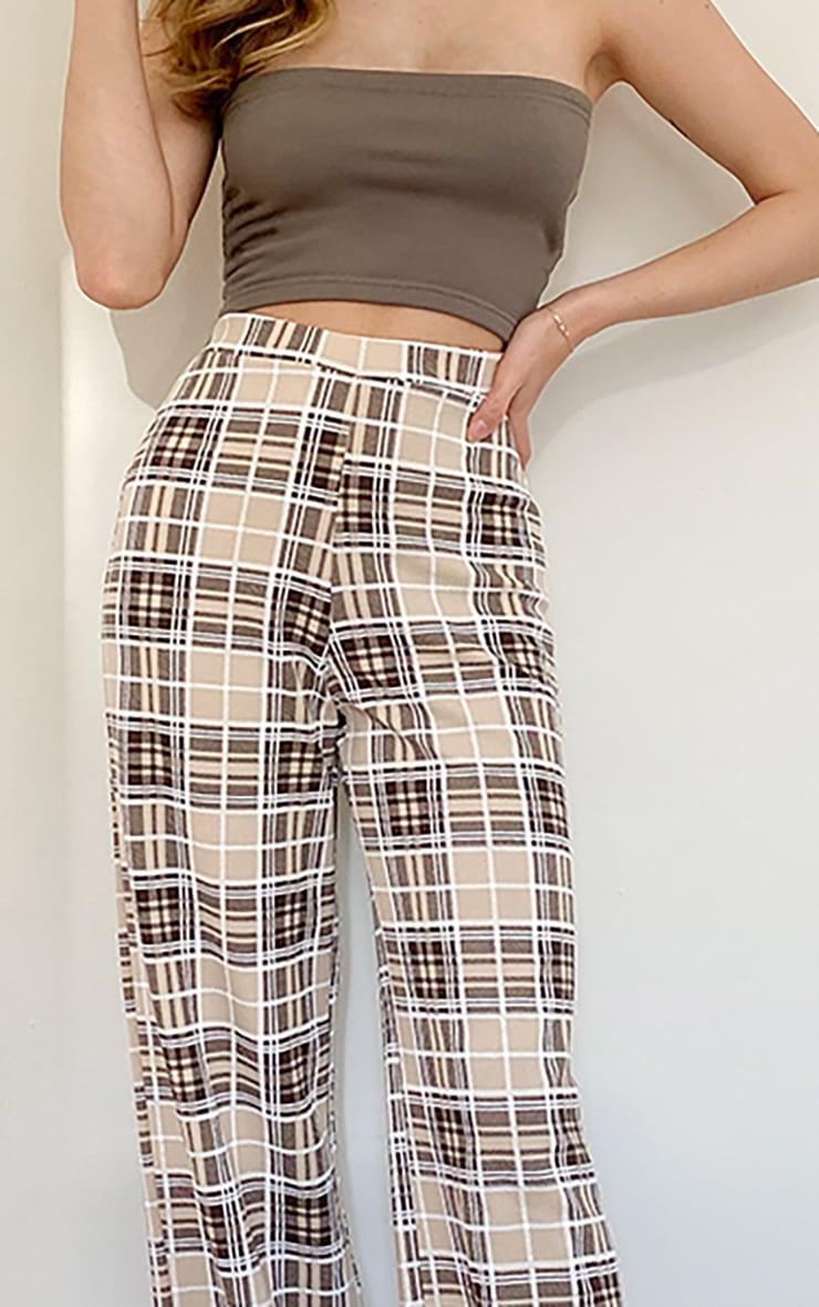 Stone Check Print Wide Leg Pants 3