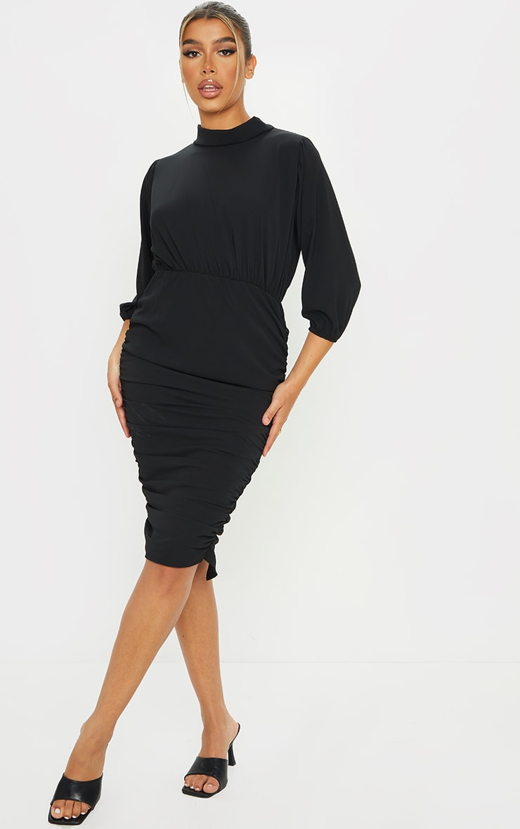 Black Chiffon High Neck Ruched Midi Dress 1