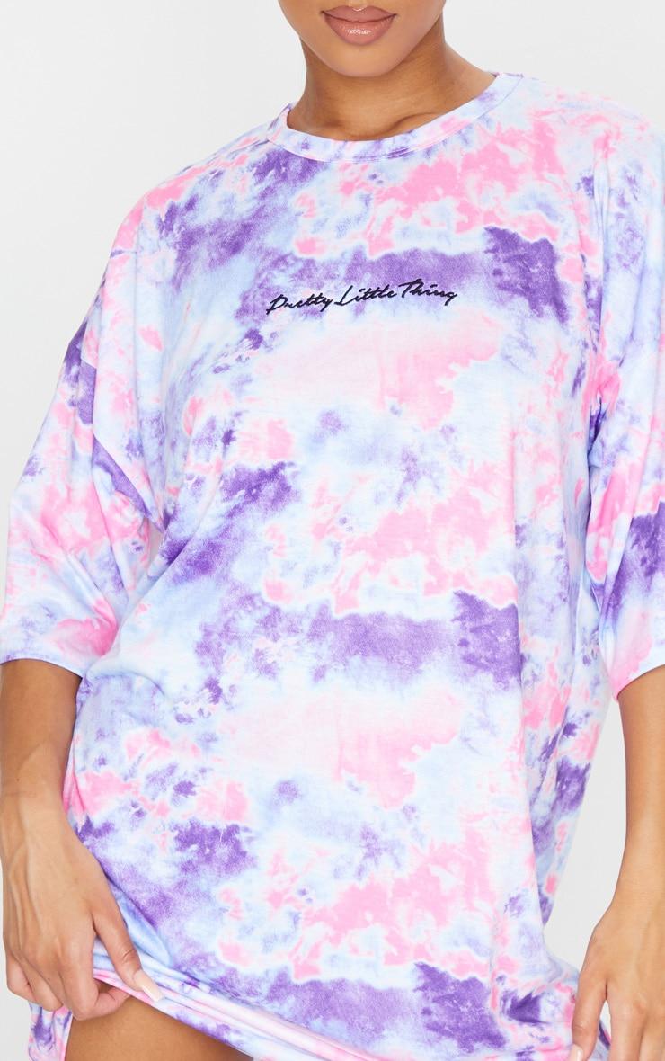 PRETTYLITTLETHING Pink Embroidered Tie Dye Boyfriend T Shirt Dress 4