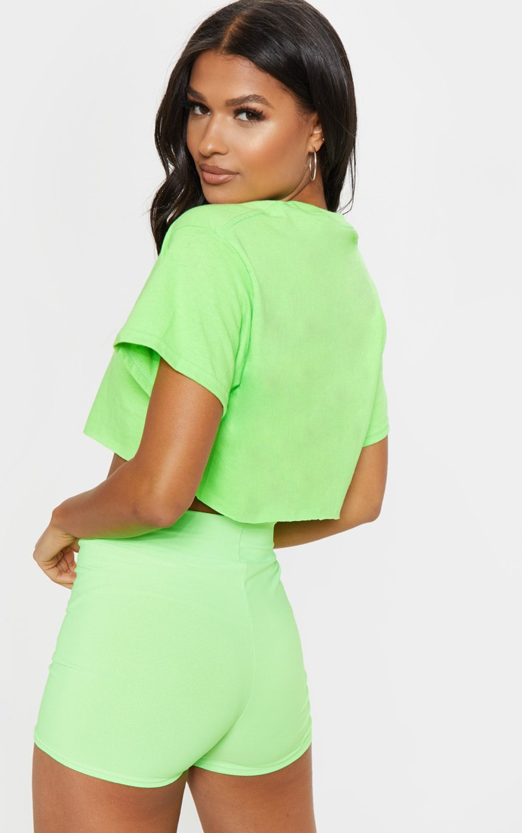 Lime Ultimate Oversized Crop T Shirt 2