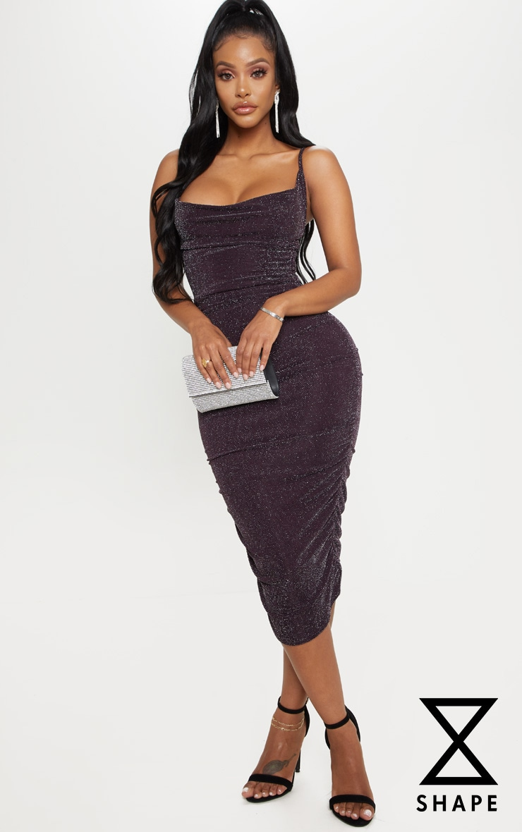 Shape Purple Textured Glitter Ruched Bodycon Dress