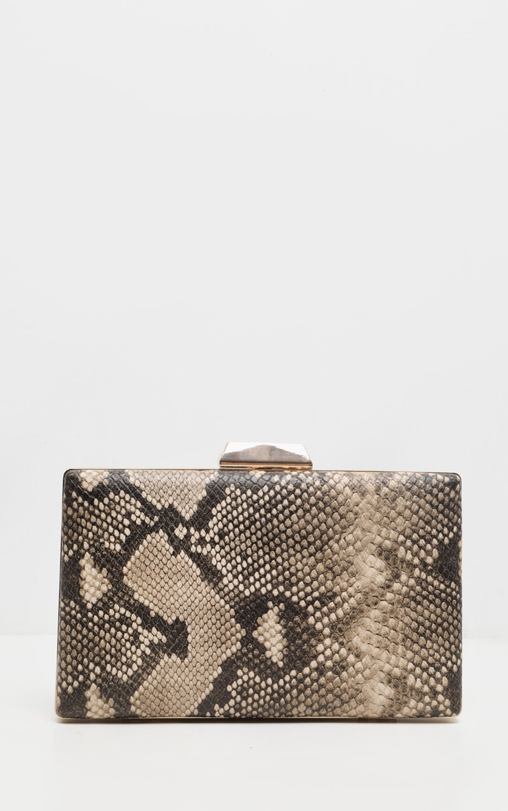Brown Snake PU Box Clutch Bag 2