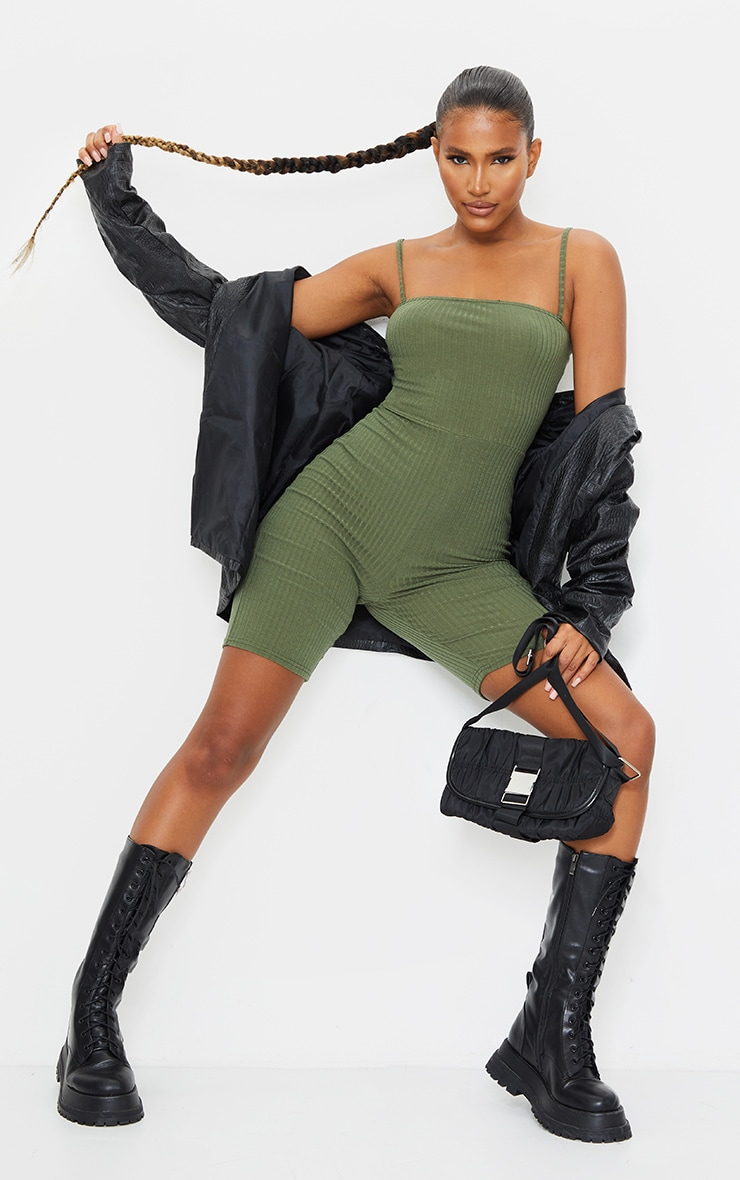 Khaki Ribbed Strappy Unitard 1