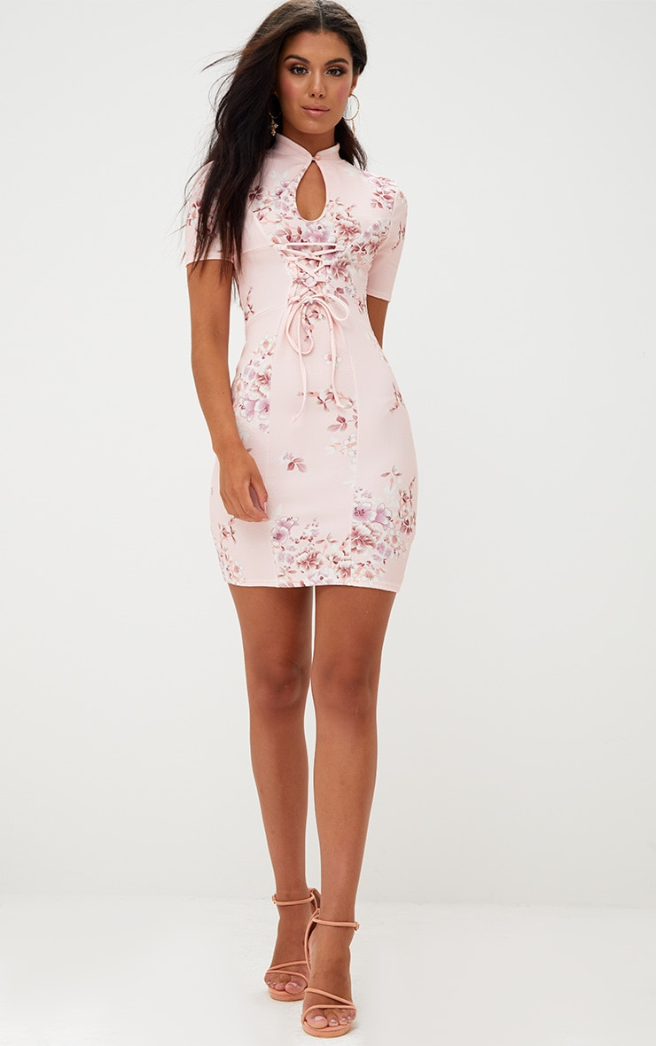 Pink Floral Lace Up Bodycon Dress 4