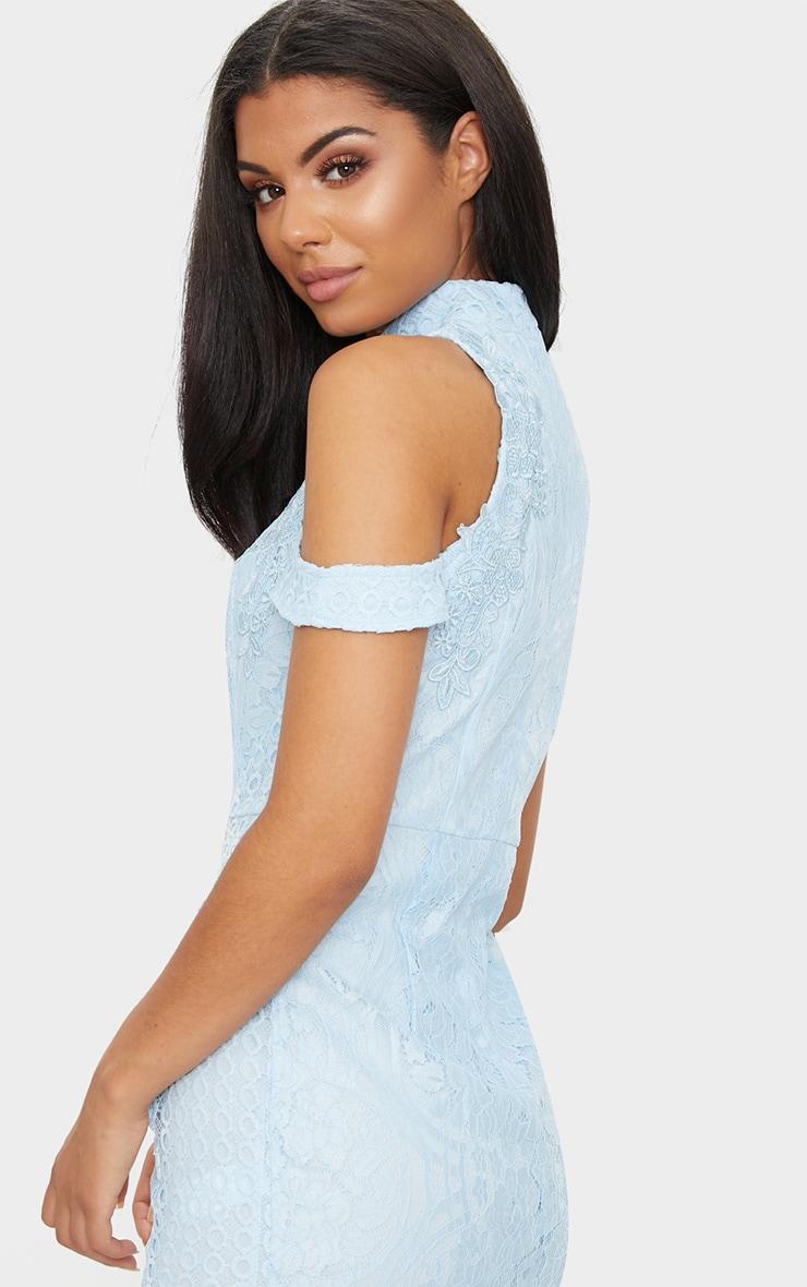 Dusty Blue Lace High Neck Cold Shoulder Midi Dress 5