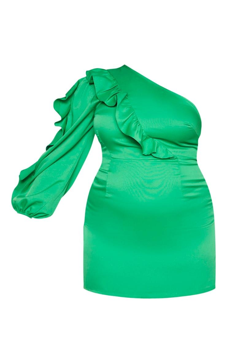 Plus Green Asymmetric Frill Detail Shift Dress 3