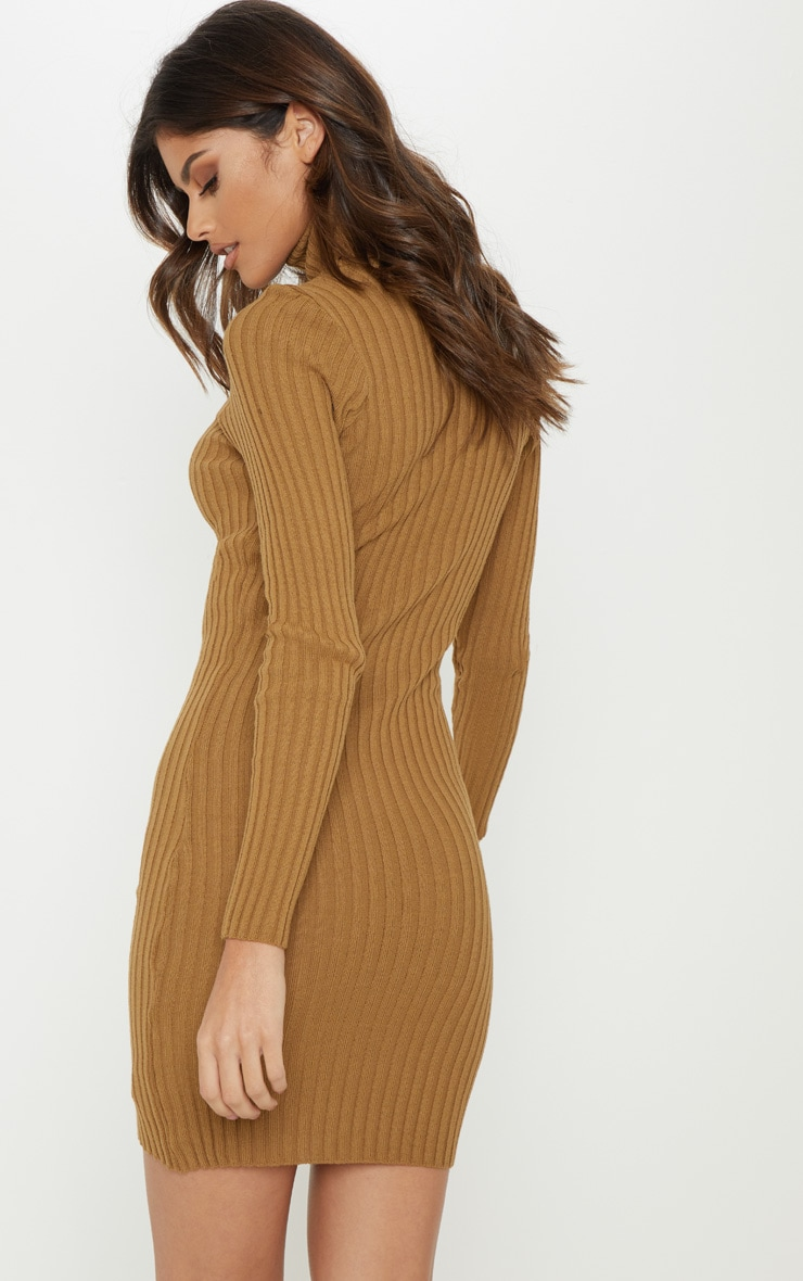 Camel Ribbed Knitted Roll Neck Dress  2