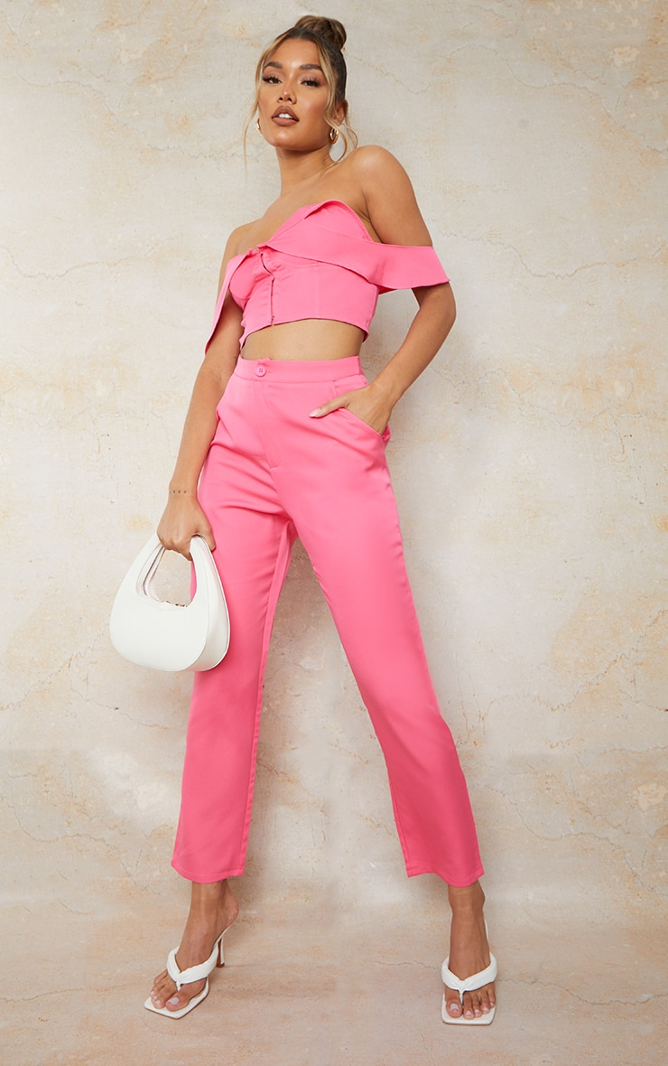 Hot Pink Woven Pocket Detail Cigarette Trousers 1