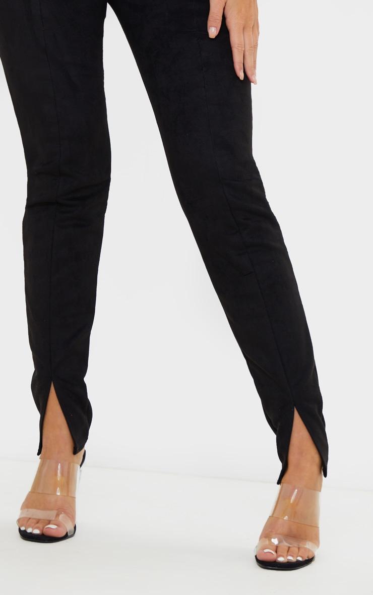 Black Faux Suede Split Front Legging 5