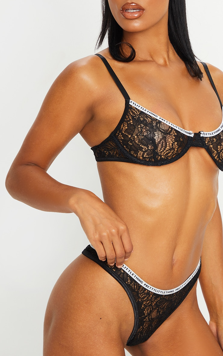 PRETTYLITTLETHING Black Floral Lace Thong 5