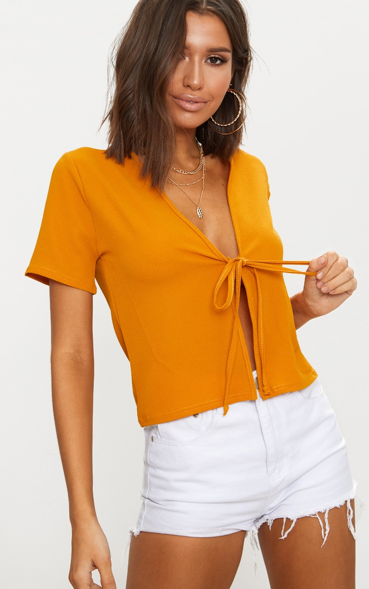 Mustard Chiffon Tie Front Short Sleeve Blouse 1
