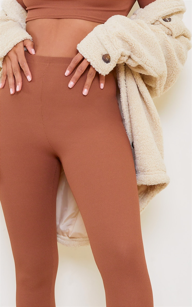 Chocolate Brown Rib High Waist Leggings 4