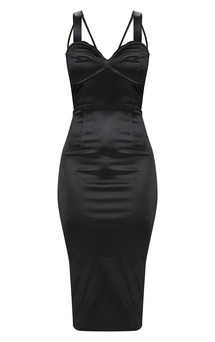 Black Strappy Folded Detail Midi Dress  3