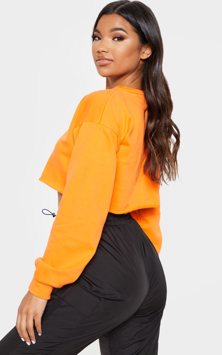 Hot Orange Cut Off Crop Longsleeve Sweater 2