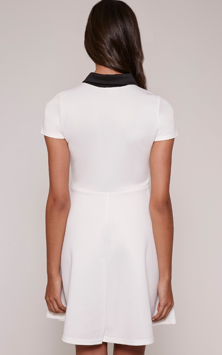 Melanie Cream Collar Detail Skater Dress 2